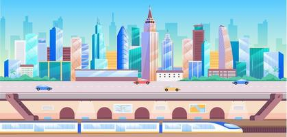 Ilustración de vector de color plano de transporte de la ciudad