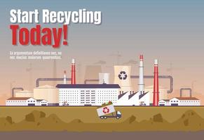 Start recycling today banner flat vector template