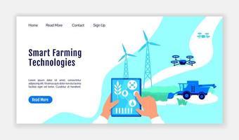 página de inicio de tecnologías agrícolas inteligentes vector