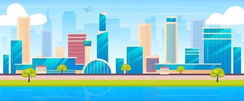 Ilustración de vector de color plano de horizonte de la ciudad