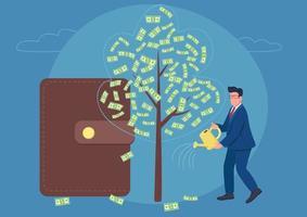 Businessman watering money tree flat concept vector illustration