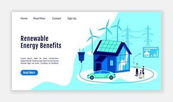 página de inicio de beneficios de energía renovable vector