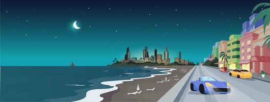 South beach at night flat color vector illustration