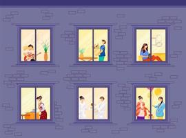 Evening neighbors routine flat color vector illustration