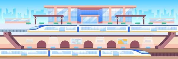 Train station flat color vector illustration