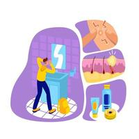 Acne flat concept vector illustration