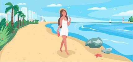 Walk on beach vector illustration