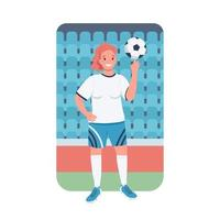 Woman footballer flat color vector detailed character