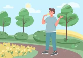 Walk in park flat color vector illustration