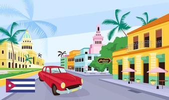 Ilustración de vector de color plano de calle vieja cubana