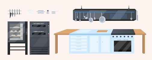 Kitchen furniture flat color vector objects set