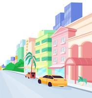 Miami streets flat color vector object