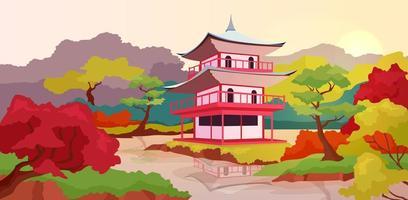 Asian pagoda flat color vector illustration