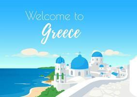 Bienvenido a plantilla de vector plano de cartel de Grecia
