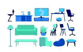 muebles para el hogar inteligente conjunto de objetos vectoriales de color plano vector