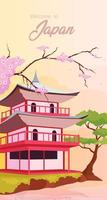 Japanese temple poster flat template vector