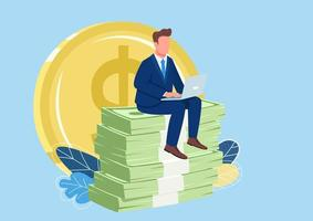 Successful employee sitting on pile of money flat concept vector illustration