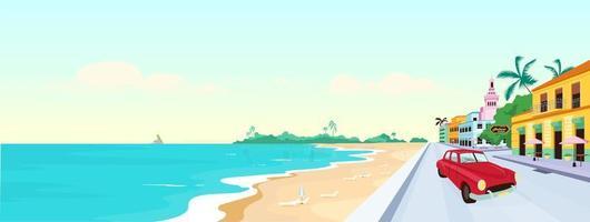 Ilustración de vector de color plano de playas de Cuba