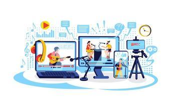 Online content creation flat concept vector illustration