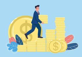 Businessman climbing money ladder flat concept vector illustration