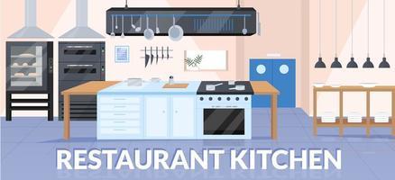 Restaurant kitchen banner flat vector template