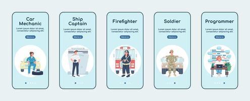Non traditional women jobs onboarding mobile app screen flat vector template