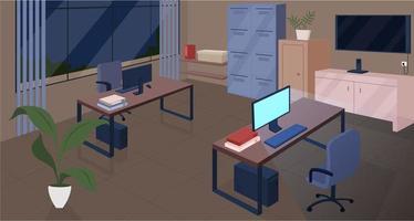 Oficina de espacio abierto en la noche ilustración de vector de color plano