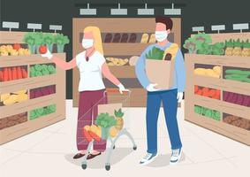 Couple in store during quarantine flat color vector illustration