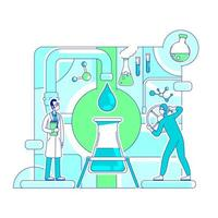 Ilustración de vector de concepto de línea fina de análisis molecular