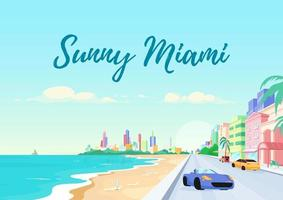 Plantilla de vector plano de cartel de Florida South Beach.