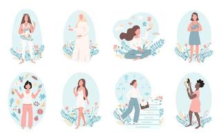 conjunto de caracteres sin rostro de vector de color plano de salud de las mujeres