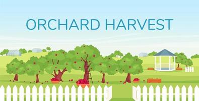 Orchard harvest banner flat vector template