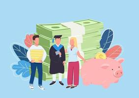 Parents savings for child education flat concept vector illustration