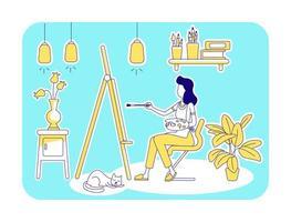 Home studio flat silhouette vector illustration