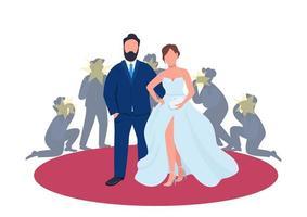Celebrity couple on red carpet flat concept vector illustration