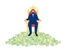Successful businessman sitting on throne flat concept vector illustration