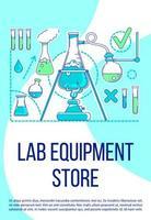 plantilla de vector de silueta plana de cartel de tienda de equipo de laboratorio