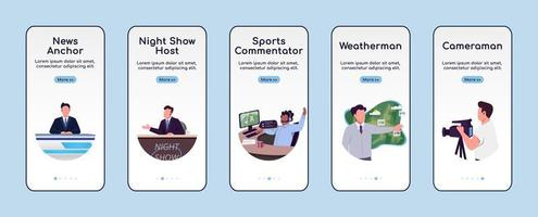 News show onboarding mobile app screen flat vector template