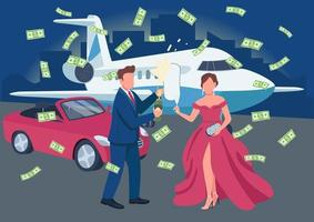 Wealthy couple opening champagne bottle flat color vector illustration