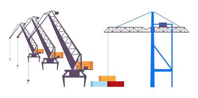 Conjunto de objetos vectoriales de color plano de grúas industriales vector