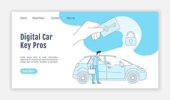 Plantilla de vector de silueta plana de página de aterrizaje de llave de coche digital
