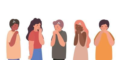 Girls and boys avatars with dry cough vector design