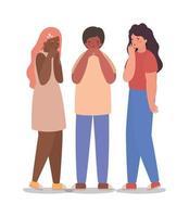 Avatares de niñas y niños con diseño de vector de tos seca