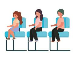Isolated girls cartoons sitting on seats vector design