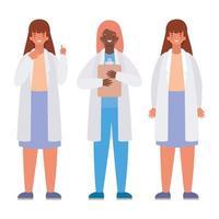 Doctoras con uniformes y diseño vectorial de historia médica. vector