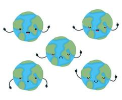 set of kawaii world spheres cartoons vector design