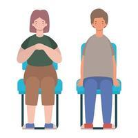 happy woman and man cartoon sitting on seats vector design