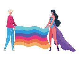 caricatura de mujer y hombre con traje y diseño de vector de bandera lgtbi