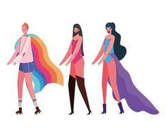 Dibujos animados de mujeres y hombres con disfraces y diseño de vector de bandera lgtbi