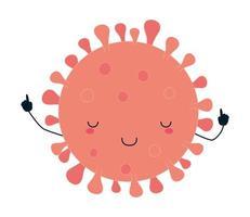 Covid 19 virus kawaii cartoon diseño vectorial